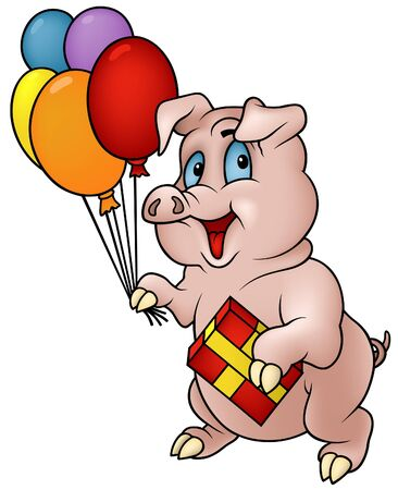 hoofed: Pig with Gift- cartoon illustration as detailed vector