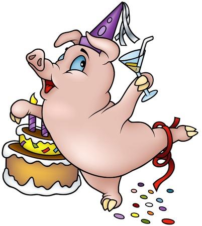 cerdo caricatura: Ilustración de dibujos animados de cerdo - Happy Birthday - baile