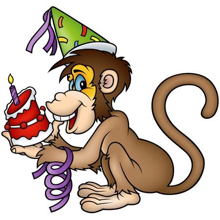 gateau: Scimmia compleanno - illustrazione dettagliata di colorati