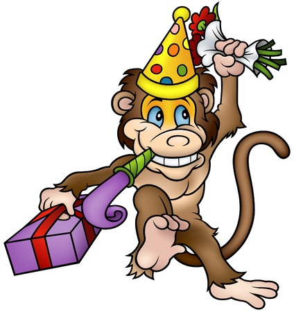 Monkey and Gift - detailed colored illustration Vector
