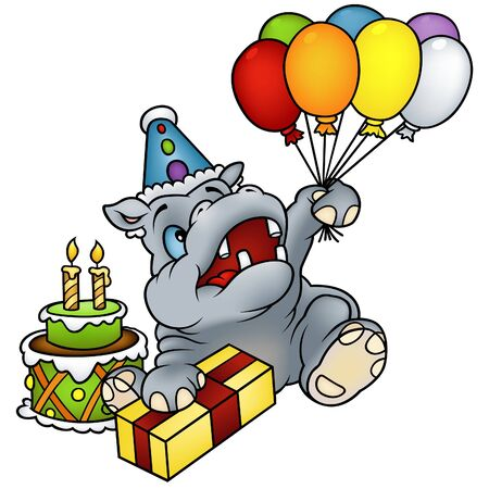 Hippo Happy Birthday - detailed colored illustration Stock Vector - 6243844