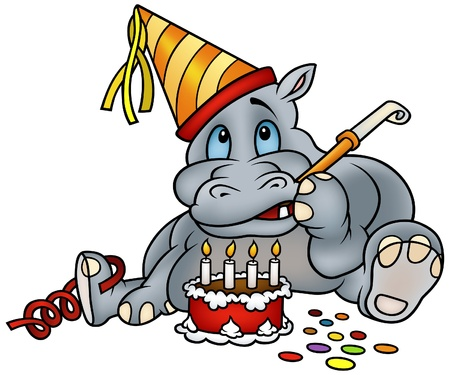 Hippo and Birthday Cake - detailed colored illustration Stock Vector - 6243842