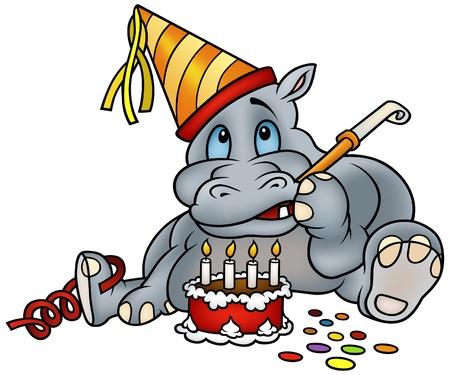 gateau: Hippo e torta di compleanno - dettagliata illustrazione colorato