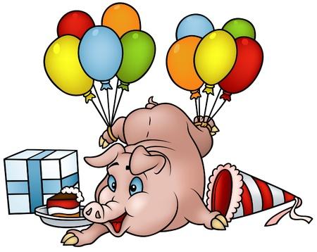 caricaturas de animales: Cerdo con globos - feliz cumplea�os