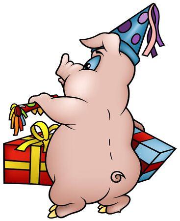 hoofed animal: Cerdo con ilustraci�n de dibujos animados de regalos - Happy Birthday-