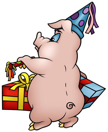 Pig with Gifts - Happy Birthday - cartoon illustration