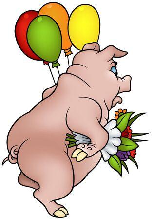 feliz cumplea�os caricatura: Cerdo con ilustraci�n de dibujos animados de flores - Happy Birthday-