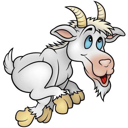hoofed mammal: Running Goat- cartoon illustration Illustration