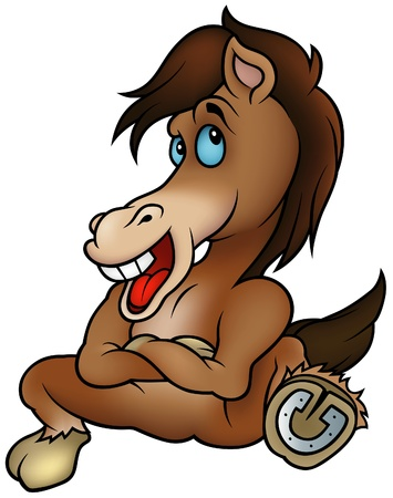 hoofed animal: Sesi�n Horse - ilustraci�n de dibujos animados