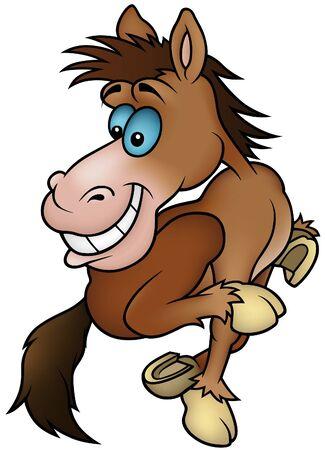 hoofed animal: Ejecuci�n de caballo - ilustraci�n de dibujos animados Vectores