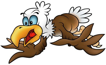 Flying Bald Eagle - colored cartoon illustration Vector