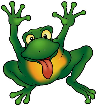 amphibian: Happy Frog - cartoon illustration   detailed