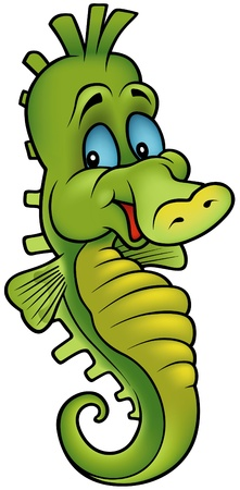 seahorse: Smiling Seahorse - colored cartoon illustration