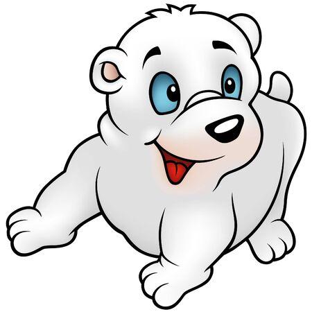 Polar Bear, Puppy - colored cartoon illustration + vector Vector