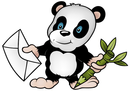 Panda and Letter - colored cartoon illustration + vector Vector