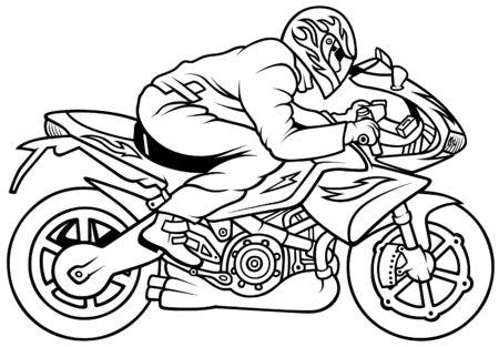 Motorrad Racing, Hand Drawn Illustration + Vektor