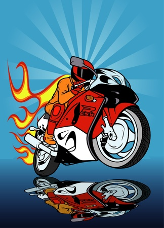 Motorcycle Racing, Colored Hand Drawn illustration + vector Ilustração