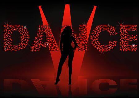 Dance Wallpaper - Girl silhouette, Background illustration Stock Vector - 7068353