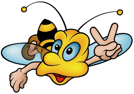 Flying Wasp - Colored Hand Drawn illustration