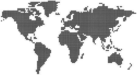 asia pacific: Dotted World Map - background illustration