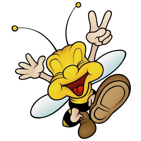 mani cartoon: Felice smiling Wasp - cartoon illustrazione a colori  Vettoriali