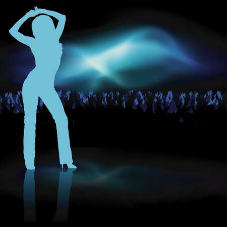 nightclub bar: Dancing Girl - dance silhouette, background illustration