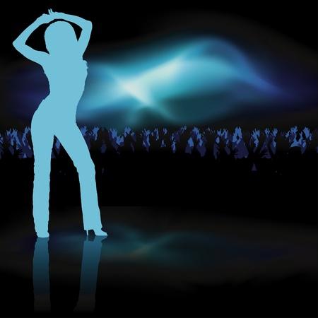 Dancing Girl - dance silhouette, background illustration