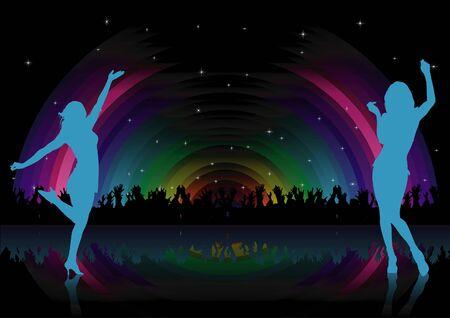 nightlife: Rainbow Dance Party - background illustration,