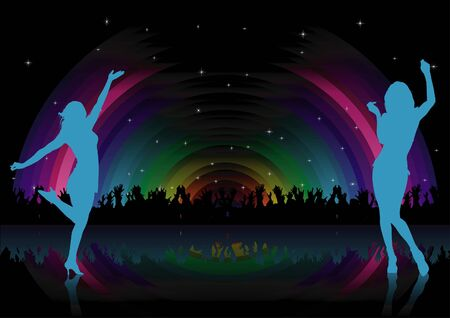 Rainbow Dance Party - background illustration, Stock Vector - 7209727