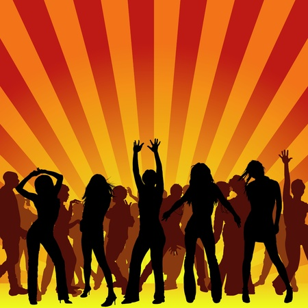 disco dancing: Party Time - background illustration