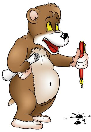 Bear with Pen - detailed cartoon illustration, vector Vector