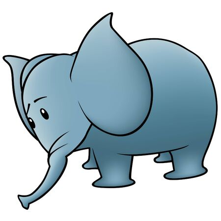 pachyderm: Small Elephant - colored cartoon illustration, vector Illustration