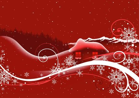 Red Abstract Christmas - christmas illustration, vector Stock Vector - 7775527