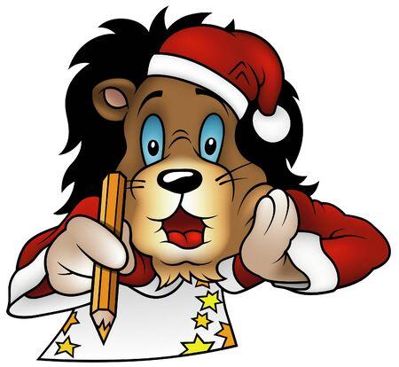 hand write: Christmas Lion 2010 - colored cartoon illustration, vector Illustration