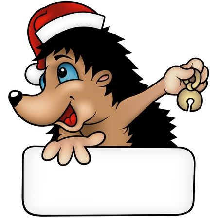 Christmas Hedgehog - colored cartoon illustration, vector Vector