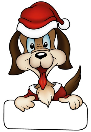 hundemarke: Christmas Dog 2010 - farbigen Karikatur Illustration, Vektor