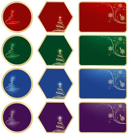 Christmas Labels - colored illustration, vector Stock Vector - 8106393