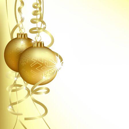 Golden Christmas Balls - background illustration Vector