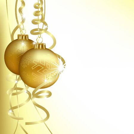 Golden Christmas Balls - background illustration