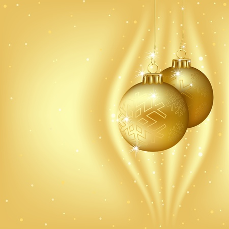 golden ball: Golden Christmas Background - colored illustration Illustration