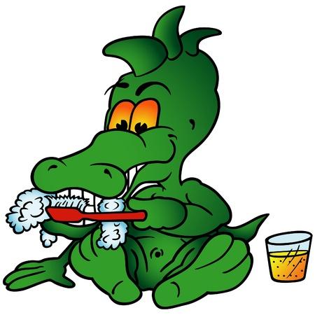 pasta dientes: Sentado cocodrilo - ilustraci�n de dibujos animados color