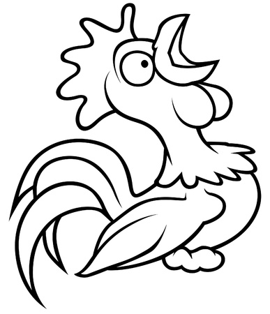 Crowing Rooster - Black and White Cartoon illustration  Vector