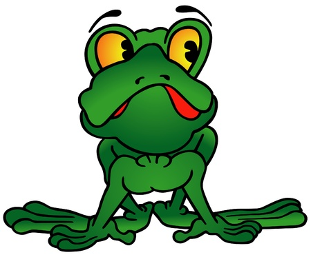 Green Frog - colored cartoon illustration Stock Vector - 8570670
