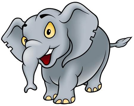 caricaturas de animales: Elefante - ilustraci�n dibujos animados alegre Vectores