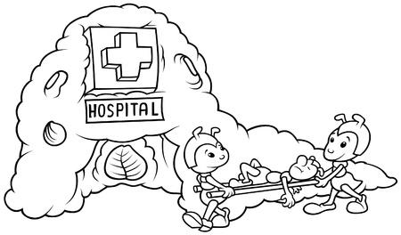 ameisenhaufen: Ant-Krankenhaus - schwarz und wei� Karikatur illustration