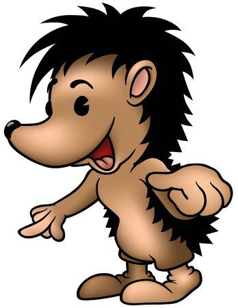 standalone: Hedgehog Pointing - colored cartoon illustration Illustration