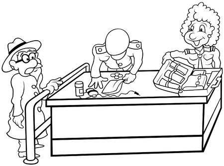 airport security: Custom - Black and White Cartoon illustration