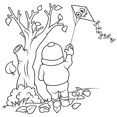 autumn leafs: Boy and Flying Kite - Black and White Cartoon illustration Illustration