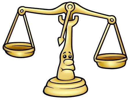 justice balance: Scales - colored cartoon illustration Illustration