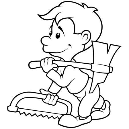 leñador: Carpenter - ilustración de dibujos animados de blanco y negro Vectores
